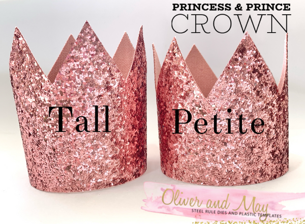 "Princess & Prince Crown Trace and Cut plastic Templates- Choice if 2 sizes, 3.15"" or 3.5"""