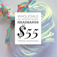 100 Pieces Thin Nylon Elastic Headbands White | 5-6 mm | 26cm |