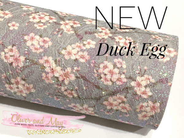 Floral Blossom Glitter Lace Fabric Sheet A3 A4 A5 - NEW Duck Egg Glitter Lace