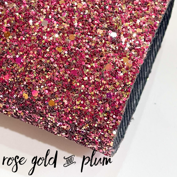 Rose Gold and Plum Chunky Glitter Canvas Fabric Sheet