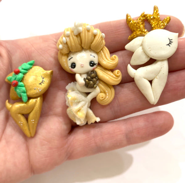 Christmas Fairies Bow Clay SALE