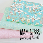 May Gibbs 3 Sheet Bundle - Bright Mint Flannel Flowers Fabric Felt -  Backed in Merino Pure Wool Felt