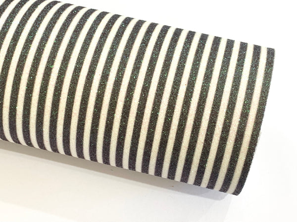 Black and White Stripe Glitter Fabric 0.9mm A4 Sheets