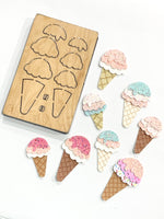 Ice Cream Clip Die - Mini Maxi 2 Sizes - Steel Rule Die for Sizzix Big Shot