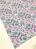 Lavender and Teal Floral Roses Soft Leatherette Floral PU Leather A4 Sheet 0.8mm