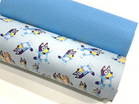 Sky Blue PU Leather Thick 1.2mm Litchi Print Leatherette
