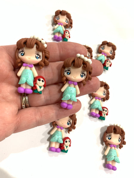Mermaid Girl with Plush Toy Embellishment Ariel