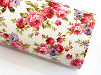 Pink White Floral Leatherette | A4 A5 Sheet | 1.0mm Thick