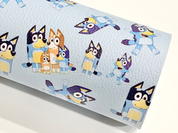 Bluey Dog Character Litchi Print A4 Faux Leather sheet