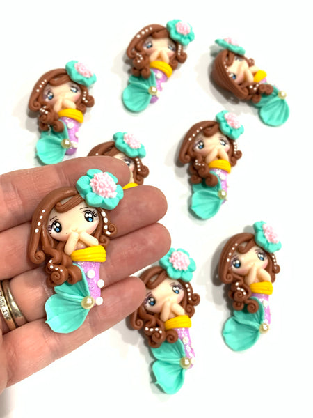 Mermaid Bow Clay Embellishment - Light Purple Yellow and Mint
