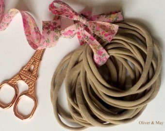EXPRESS UPGRADE 100 Pieces Thin Nylon Elastic Headbands Nude | 5-6 mm | 26cm