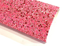 Pink with Red Chunky Glitter Fabric Sheet