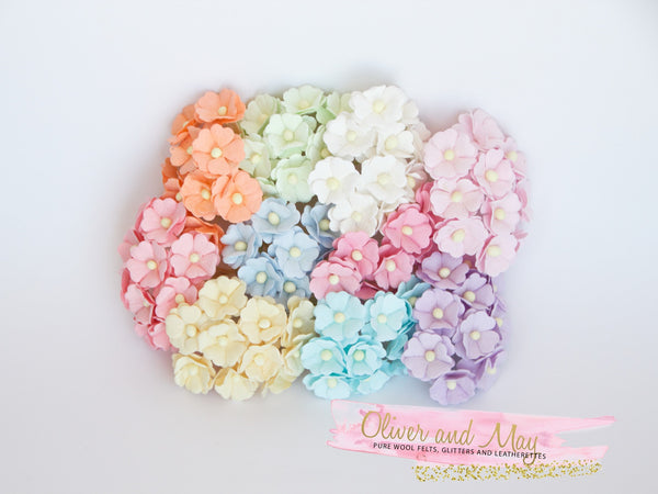 "Bulk 100 Pack - Mulberry Paper Flowers - 1"" 2.5cm Cherry Blossoms - Soft Pastels"
