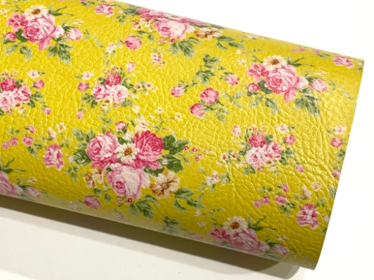 Mustard Floral Print Faux Leather - Lychee Floral Print 0.9mm Leatherette A5 or A4 sheets