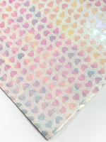 Pastel Rainbow Hearts Hearts Faux Leather A4 Sheet