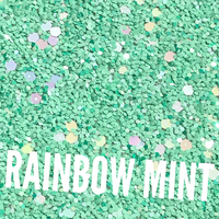 Rainbow Mint Chunky Glitter Fabric