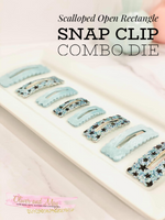 Scalloped Open Rectangle Snap Clip Quad Combo Steel Rule Die - 4 Sizes ~ XS, Small, Med and Large - Ready to Ship