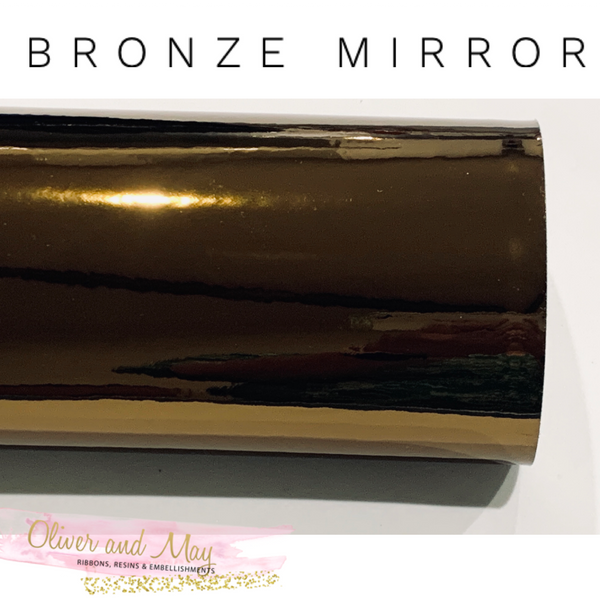 Bronze Mirrored Leatherette 0.8mm Thickness Mirror Bronze Glossy Leather