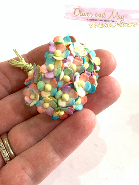Miniature Rainbow Mulberry Paper Blossoms - 20 lot