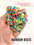 Bright Rainbow Mulberry Paper Roses - 20mm -  Lot of 10