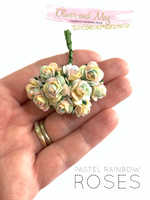 Pastel Rainbow Mulberry Paper Roses - 10mm - Lots of 10