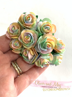 Pastel Rainbow Mulberry Paper Roses - 25mm - Lots of 10