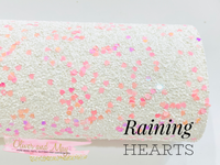 Raining Hearts Premium Chunky Glitter Canvas - White with Soft pinks and Magenta