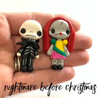 Jack and Sally Bow Clay Embellishment