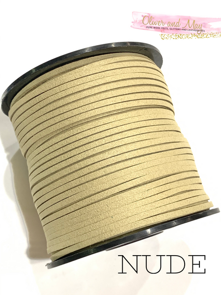 Nude Faux Suede Cord - 5m