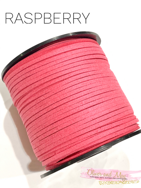 Raspberry Faux Suede Cord - 5m