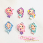Pastel Mermaids Bow Clay Embellishments
