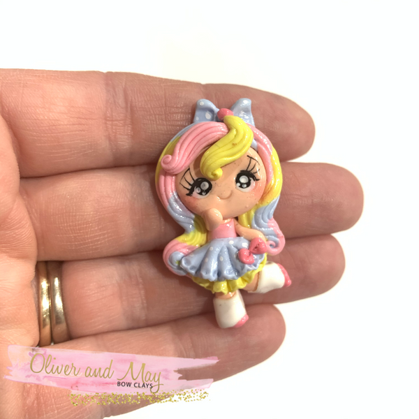 Pastel Rainbow Girl Bow Clay Embellishment