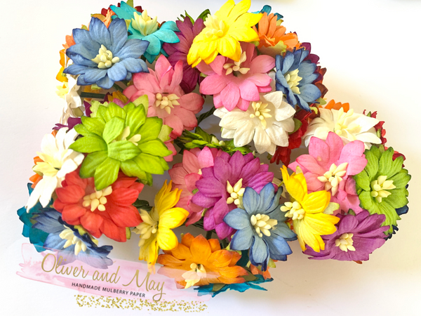 "Bulk 50 Pack - 1"" 2.5cm Daisy Mulberry Paper Flowers -  Bright Summer Daisies"