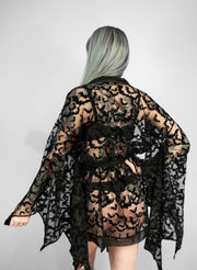 Black Bat Lace Winged Kimono - Agashi Shop