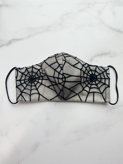 Glitter Spiderweb Ivory Fabric Face Mask with Filter Pocket and Nose Wire - Agashi Shop