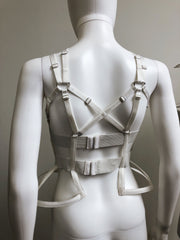 Ready to Ship - Sample White Goth Cage Peplum Bustier & Maleficent Collar Lot - Crinoline - Agashi Shop - Agashi by Christina O