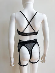 Ready to Ship - Widow Bralette, Garter Belt, Thong & Bikini Set