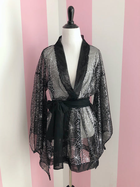 Ready to Ship - Black Mesh & Silver Metallic Bat Wing Mini Kimono
