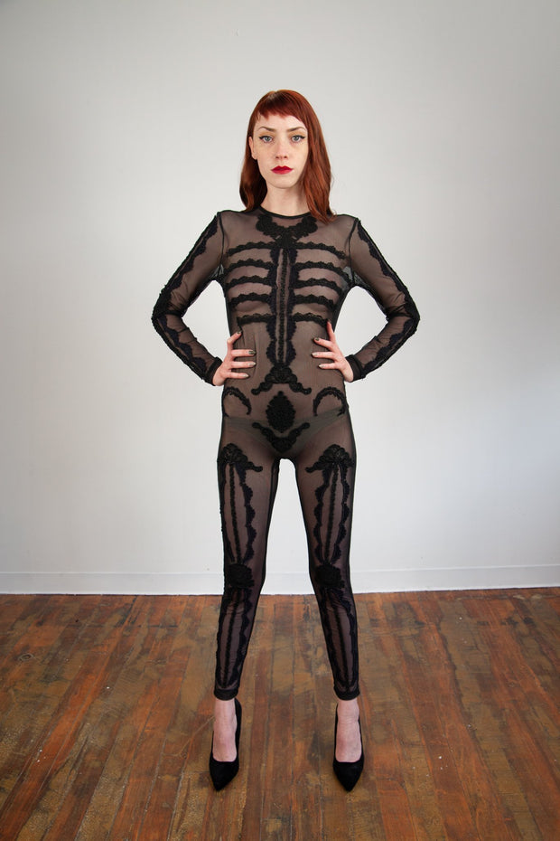 Returning Fall 2021 - Bathory Lace Skeleton Catsuit - Agashi Shop