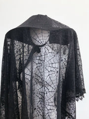 Set - Good Mourning Spiderweb Lace Veil & Goth In The Wind Hat - Agashi Shop