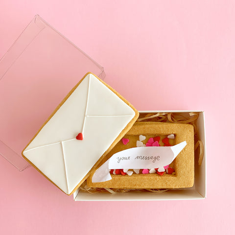 Love letter cookie box with message