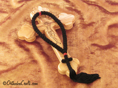 50 knot pure wool prayer rope with glass beads