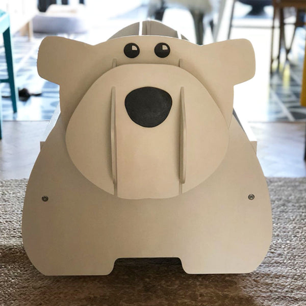 playful dog or polar bear book storage / toy box