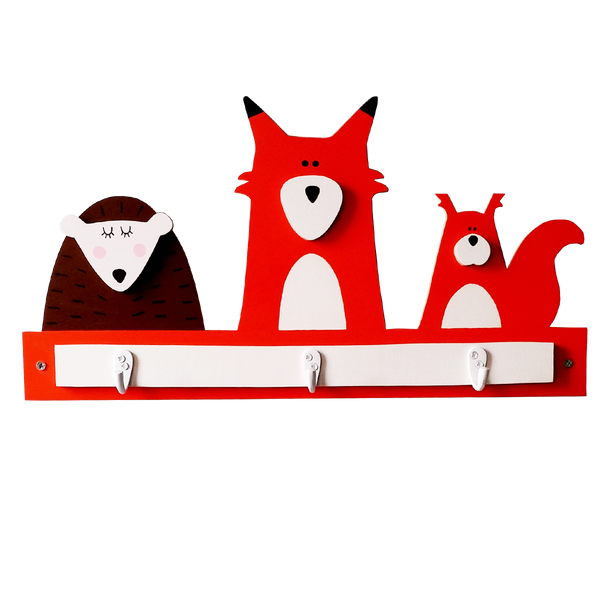 hedgehog, fox and squirrel wooden wall hooks for kids decor