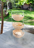 Basket Metal Stand with 3 Wicker Baskets, Wattled Design, Basket-Etagere, Rack Stand, Set Of Baskets, Multipurpose