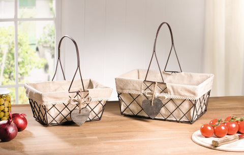 Wire Basket, Fixed Handle, Unique Style Beautiful Basket, Shopping Basket, Picnic Basket, Storage Basket, Multipurpose Baskets Set of 2