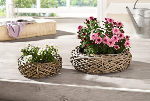 Wooden Planter Knitted In Wheel Shape, Planter Pots, Plant Holder, Balcony Home Decor, Flower Holder Baskets, Set of 2