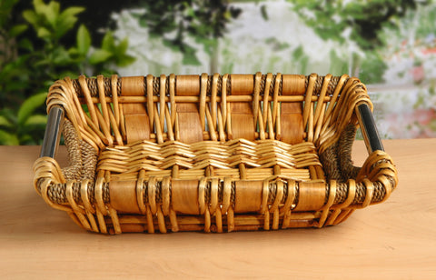 Decorative Tray, Basket Bowl, Metal Handle Basket, Unique Style, Sea Grass and Wood Chip, Multipurpose Use