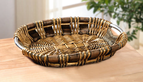 Braiding Round Decorative Tray, Basket Bowl, Metal Handle Basket, Unique Style, Sea Grass and Wood Chip, Multipurpose Use