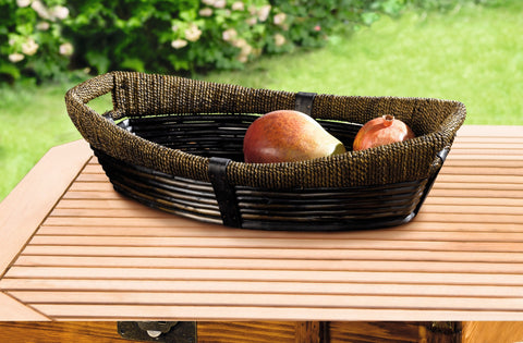 Black Storage Basket, Oval Basket, Basket Bowl, Decorative Tray, Handle Basket, Unique Style, Sea Grass and Wood Chip, Multipurpose Use